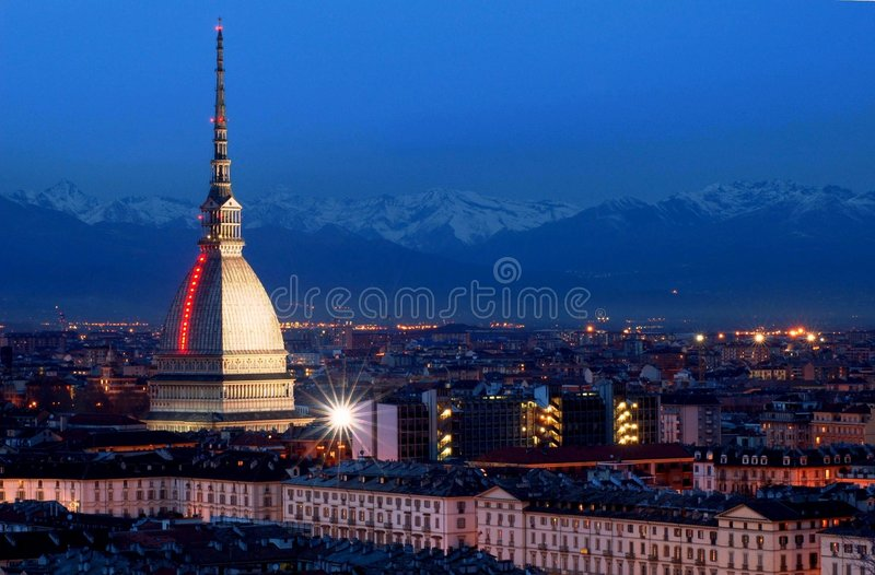 's nachts Turijn stock fotografie