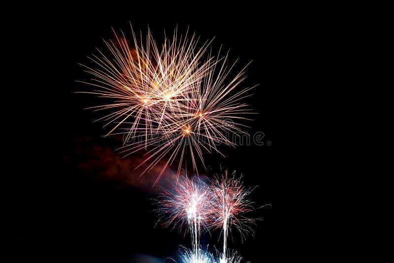's nachts vuurwerk royalty-vrije stock foto