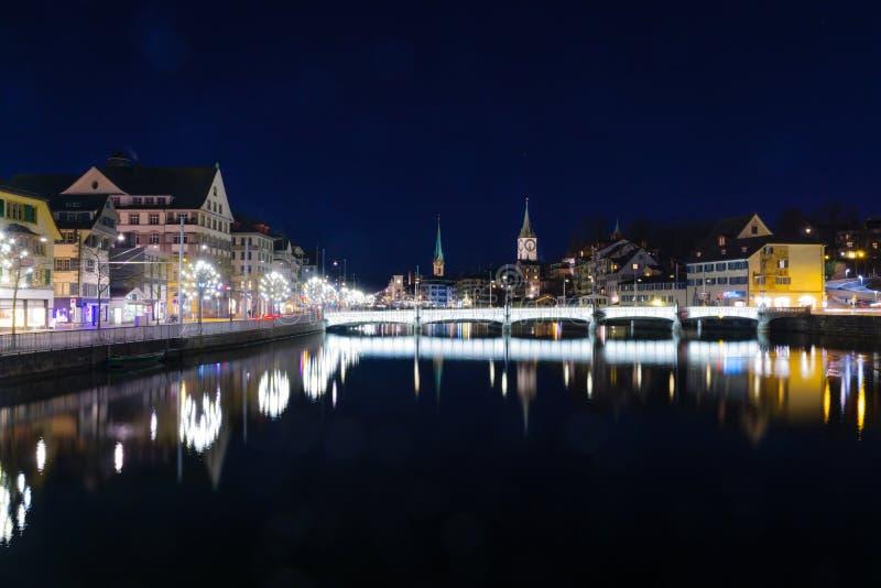 's nachts Zürich stock foto's