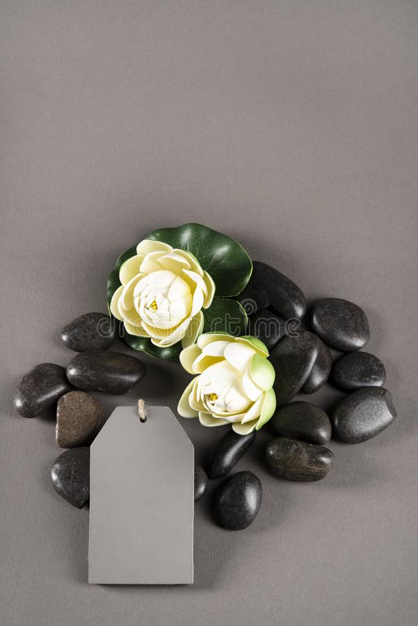 It`s never too much for wellness. White flower and sparking stones stock photos
