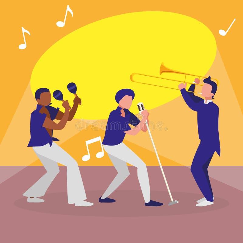 S?nger und Musiker versehen Charaktere mit einem Band vektor abbildung