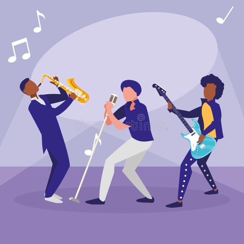 S?nger und Musiker versehen Charaktere mit einem Band stock abbildung
