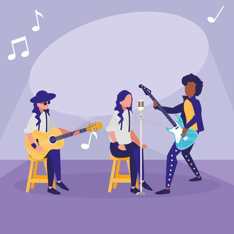 S?nger und Musiker versehen Charaktere mit einem Band lizenzfreie abbildung