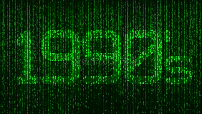 1990`s nineties computer coding title logo with green glowing numbers and a code background. 1990`s nineties computer coding title logo with green glowing royalty free stock photography