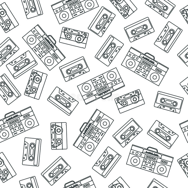 80s nostalgia style. Vintage retro 80`s fashion seamless pattern. stock illustration