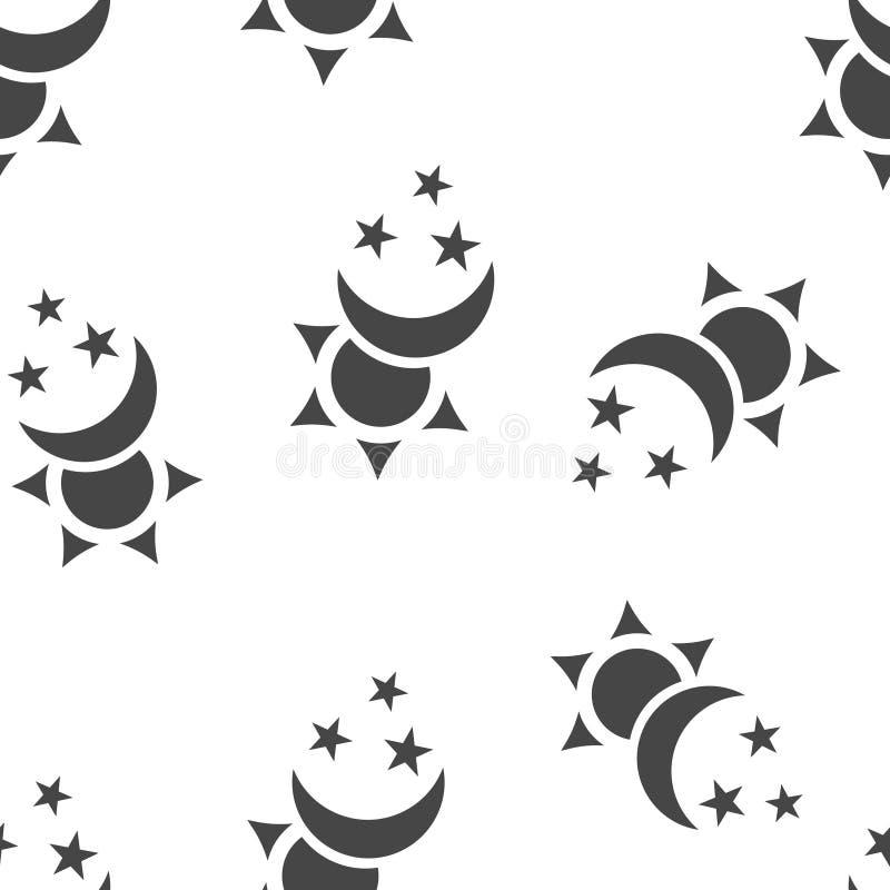 S?o?ce i ksi??yc z gwiazda wektoru ikon? Symbol zmiana dnia i nocy bezszwowy wzór na białym tle royalty ilustracja