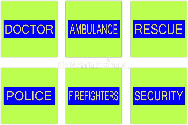 S o s. Doctor ambulance rescue police firefighters security - emergency help royalty free illustration