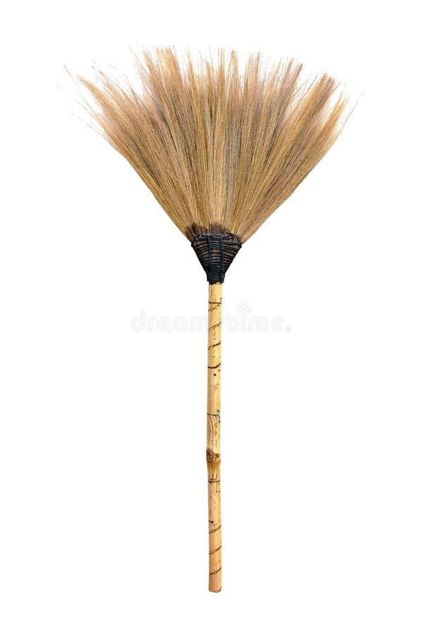 S?omiany broomstick odizolowywaj?cy na bia?ym tle fotografia royalty free