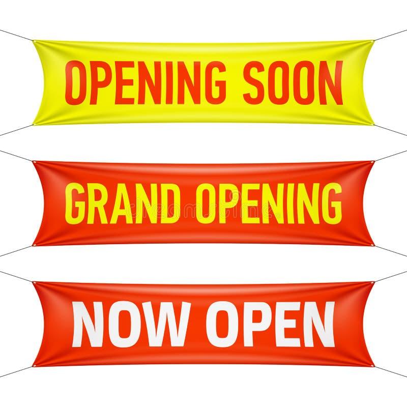 S'ouvrant bientôt, l'ouverture officielle et ouvrent maintenant des bannières illustration de vecteur