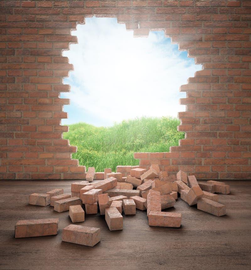 S'ouvrir dans un mur de briques illustration de vecteur