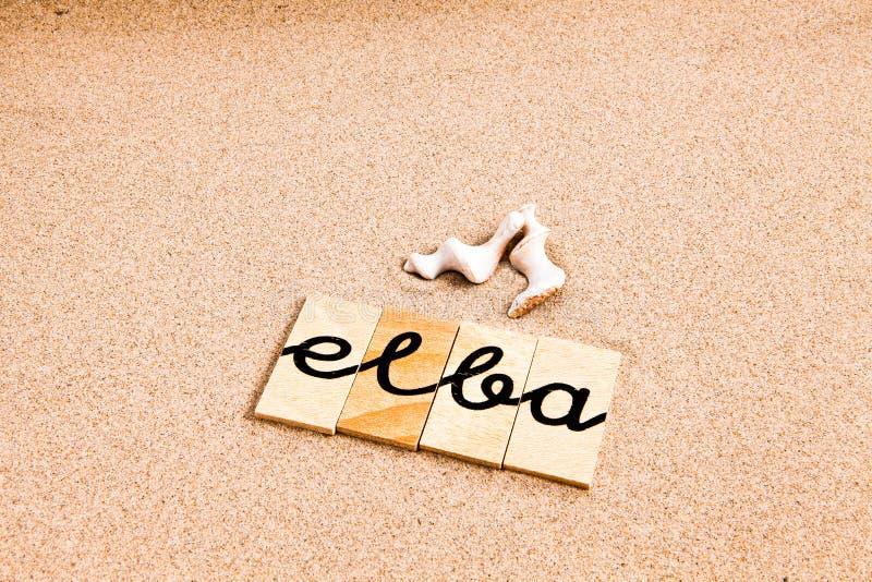 Download Słowa na piasku Elba ilustracji. Ilustracja złożonej z sezon - 53789631