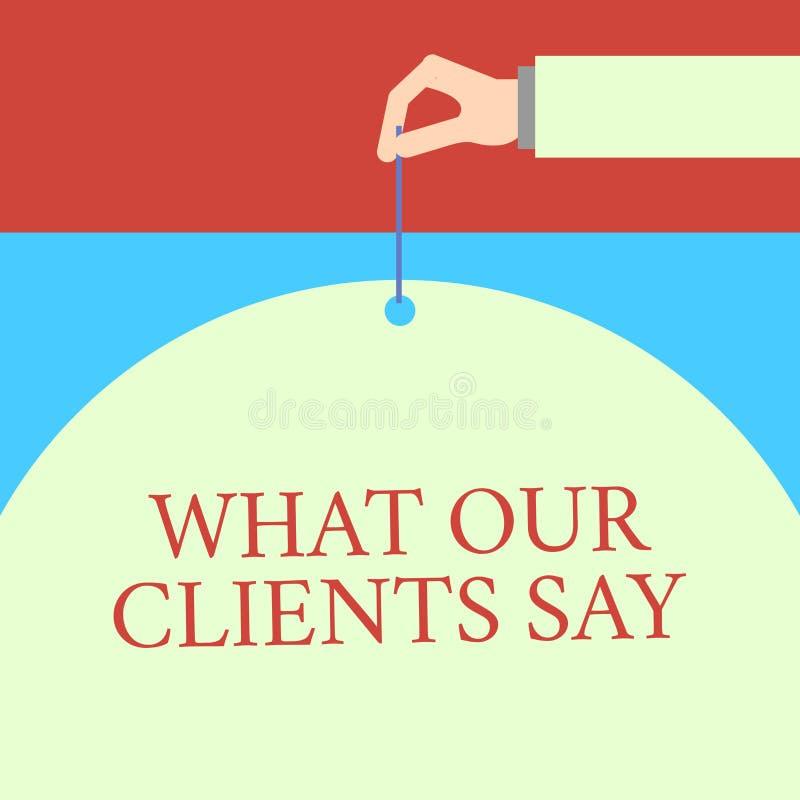 S?owa writing tekst Co M?wj? Nasz klienci Biznesowy pojęcie dla testimonials lub informacje zwrotne aclient o produkt samiec ilustracji