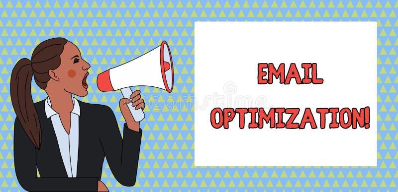 S?owa writing teksta emaila optymalizacja Biznesowy pojęcie dla Maksymalizuję skuteczność kampanii marketingowych potomstwa royalty ilustracja