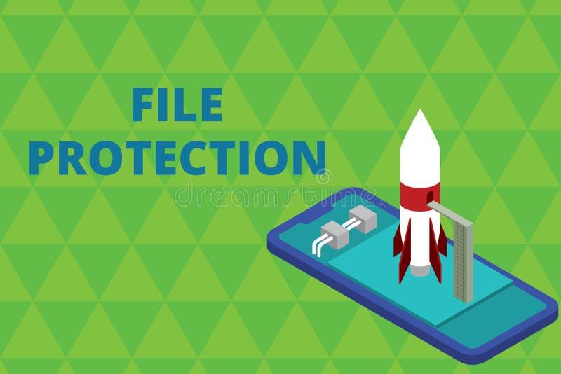 S?owa writing teksta kartoteki ochrona Biznesowy pojęcie dla Zapobiegać przypadkowy wymazywać dane używać składowego środek Gotow ilustracji