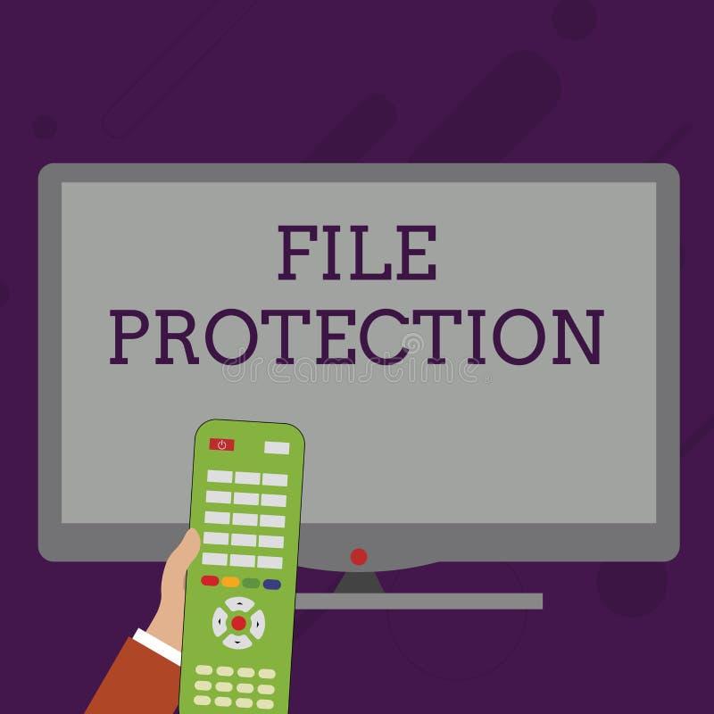 S?owa writing teksta kartoteki ochrona Biznesowy pojęcie dla Zapobiegać przypadkowy wymazywać dane używać składowego środka rękę royalty ilustracja