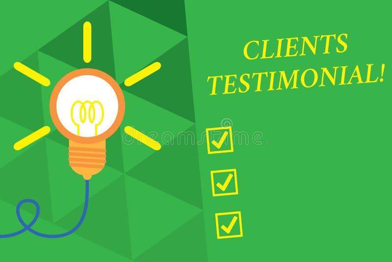S?owa writing teksta klient?w Testimonial Biznesowy pojęcie dla Formalnego oświadczenia Zeznaje Szczerego poparcie Inny Dużymi ilustracji
