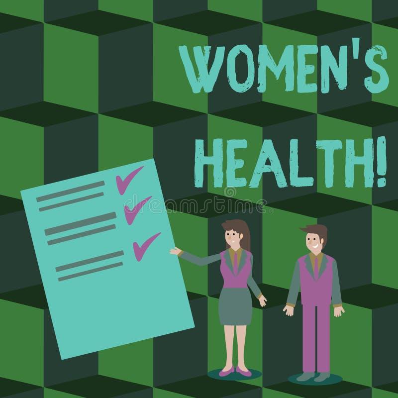 S?owa writing teksta kobiety s s? zdrowie Biznesowy pojęcie dla problem zdrowia odmianowych huanalysis anatomii kobieta i mężczyz ilustracja wektor