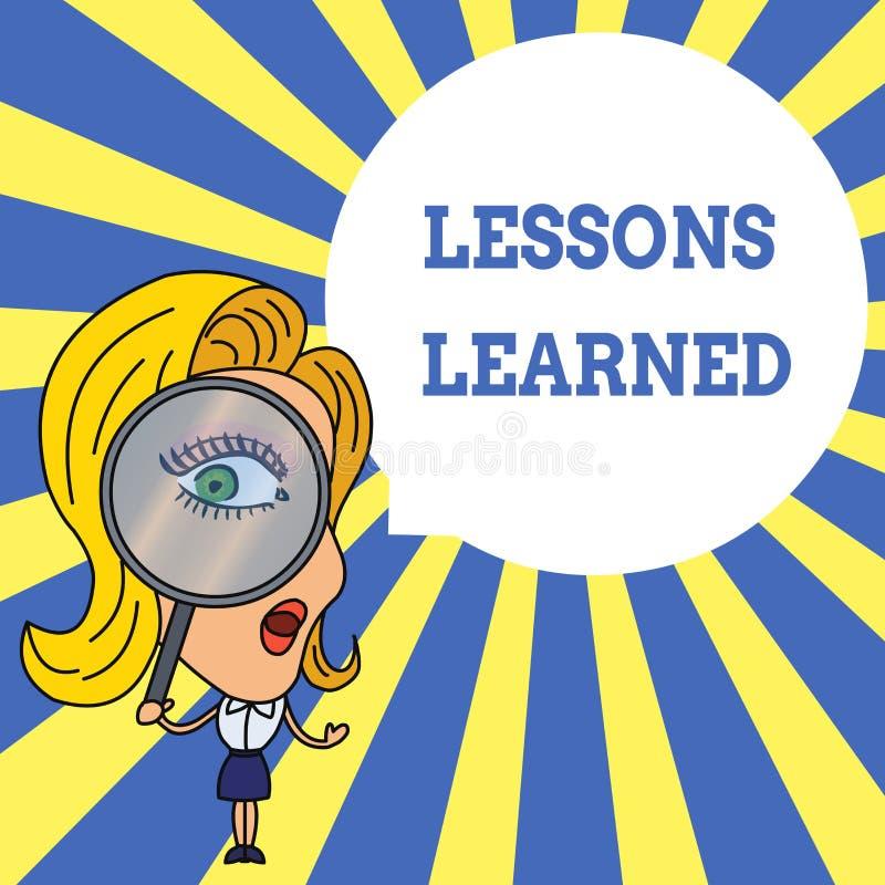 S?owa writing teksta lekcje Uczyli si? Biznesowy pojęcie dla informacji odbija pozytywnych i negatywnych doświadczeń kobiety royalty ilustracja