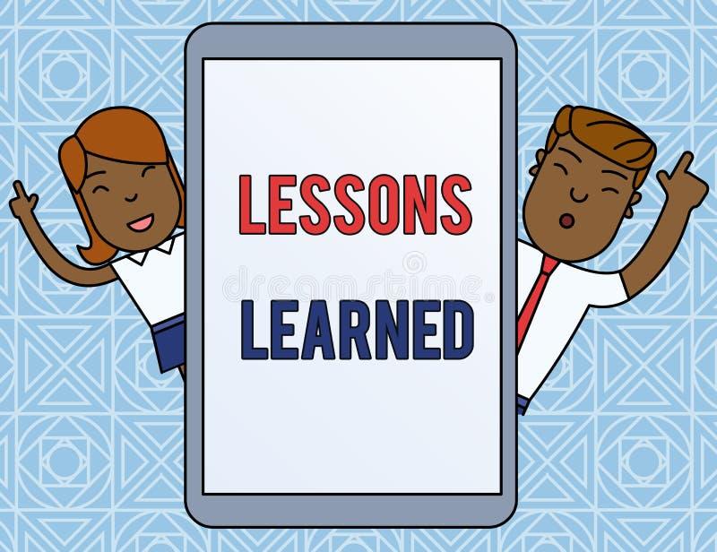 S?owa writing teksta lekcje Uczyli si? Biznesowy pojęcie dla informacji odbija pozytywnych i negatywnych doświadczeń samiec i royalty ilustracja