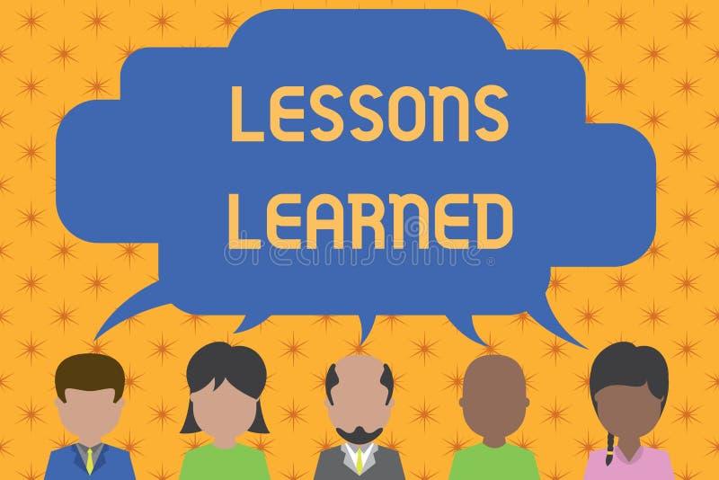 S?owa writing teksta lekcje Uczyli si? Biznesowy pojęcie dla informacji odbija pozytywnych i negatywnych doświadczenia Pięć ilustracja wektor