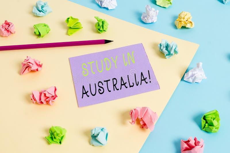 S?owa writing teksta nauka W Australia Biznesowy poj?cie dla i?? w obcego kraju rozkazu zupe?nego tw?j studia obraz stock