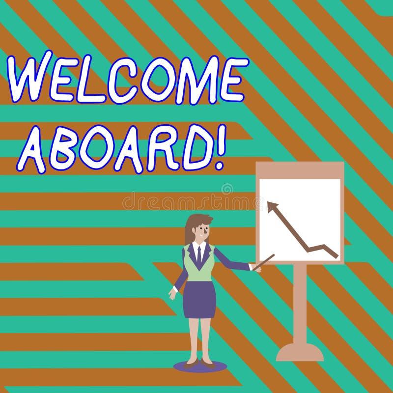 S?owa writing teksta powitanie Aboard Biznesowy pojęcie dla coś który mówisz ty dostaje na statku kiedy someone jest ilustracja wektor