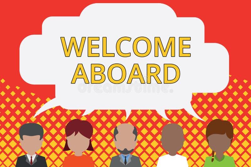 S?owa writing teksta powitanie Aboard Biznesowy pojęcie dla wyrażenia powitania demonstrować czyj jest przyjeżdżający royalty ilustracja