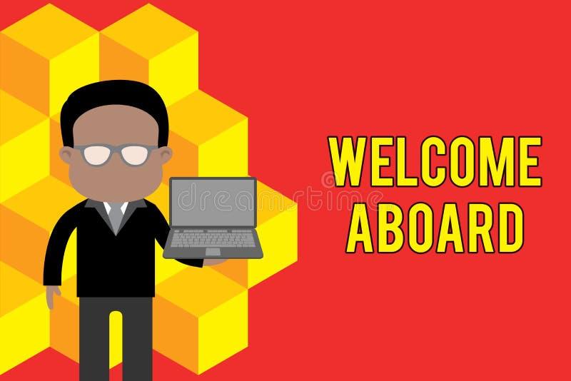 S?owa writing teksta powitanie Aboard Biznesowy pojęcie dla wyrażenia powitania demonstrować czyj jest przyjeżdżający ilustracji