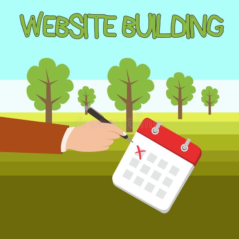 S?owa writing teksta strony internetowej budynek Biznesowy pojęcie dla narzędzi które typowo pozwolą budowę strony Męska ręka ilustracja wektor