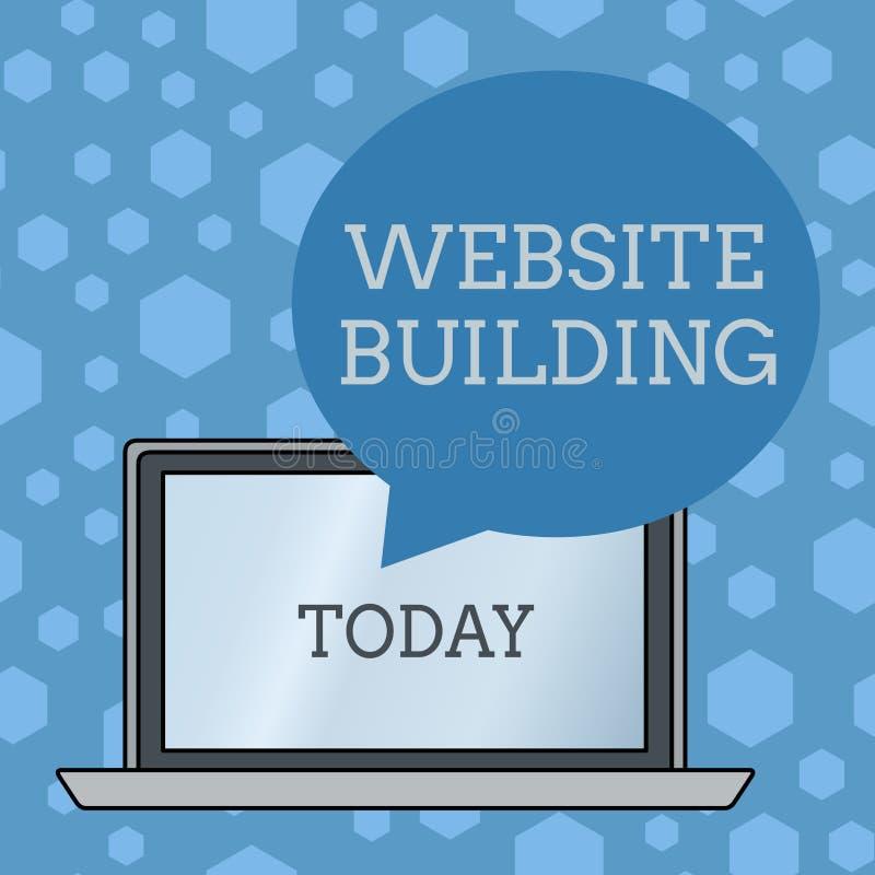 S?owa writing teksta strony internetowej budynek Biznesowy pojęcie dla narzędzi które typowo pozwolą budowę strony Round royalty ilustracja