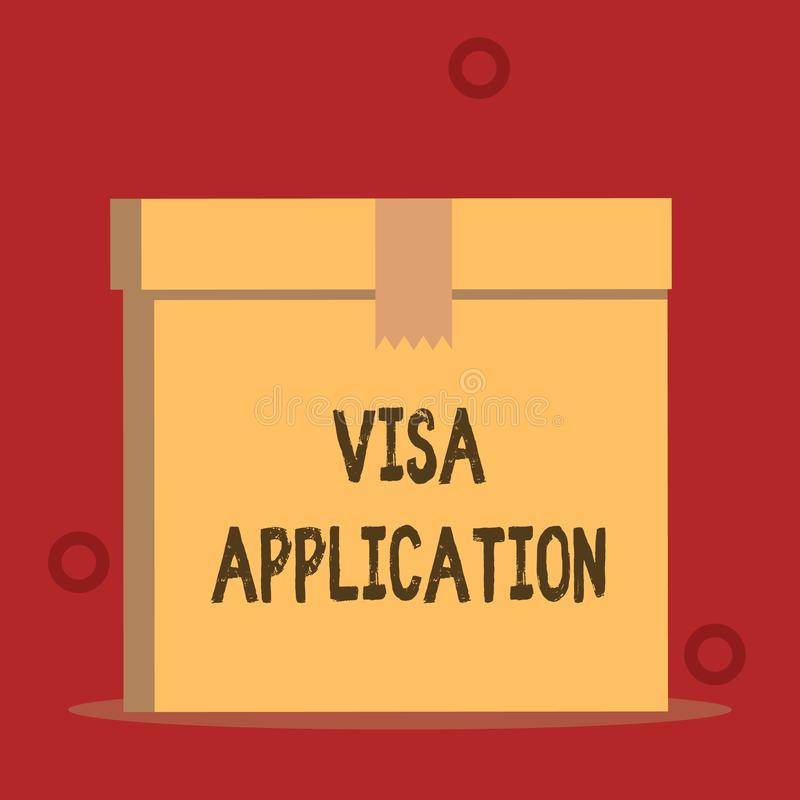 S?owa writing teksta wniosek wizowy Biznesowy pojęcie dla formy pytać pozwolenie podróż lub żyć w innym kraju zakończeniu royalty ilustracja