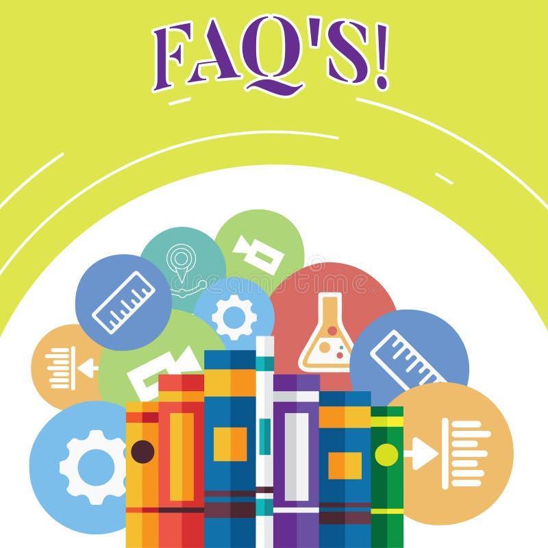 S?owo pisze teksta Faq S Biznesowy poj?cie dla listy pytanie i odpowied? zwi?zany z szczeg??u tematem Rezerwuje ilustracja wektor