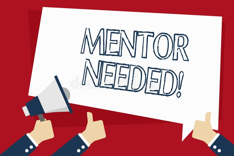 S?owo pisze teksta mentora Potrzebuj?cego Biznesowy poj?cie dla pracownika szkolenia pod seniorem wyznacza? post?puje jako adviso royalty ilustracja
