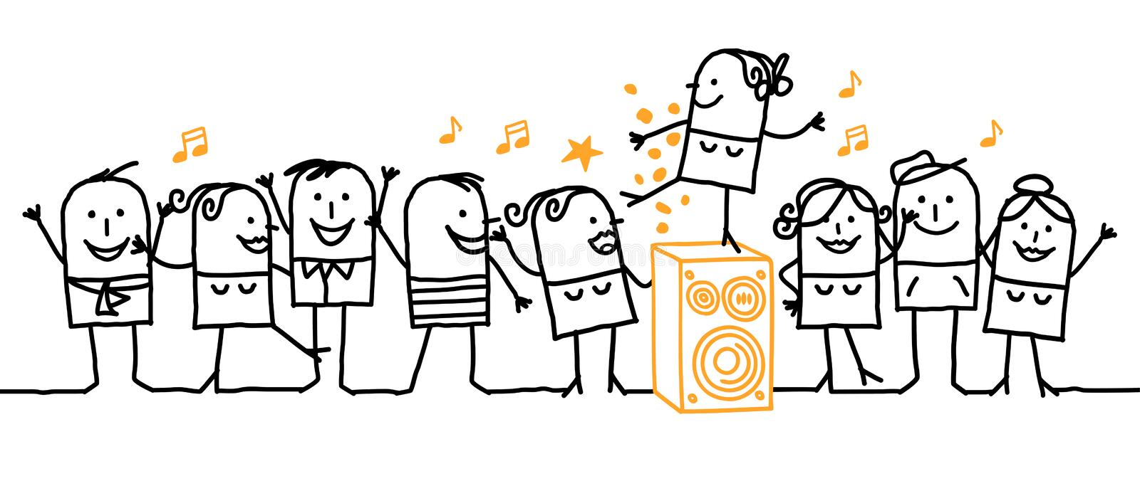 It's party time !. Vector hand-drawn characters line