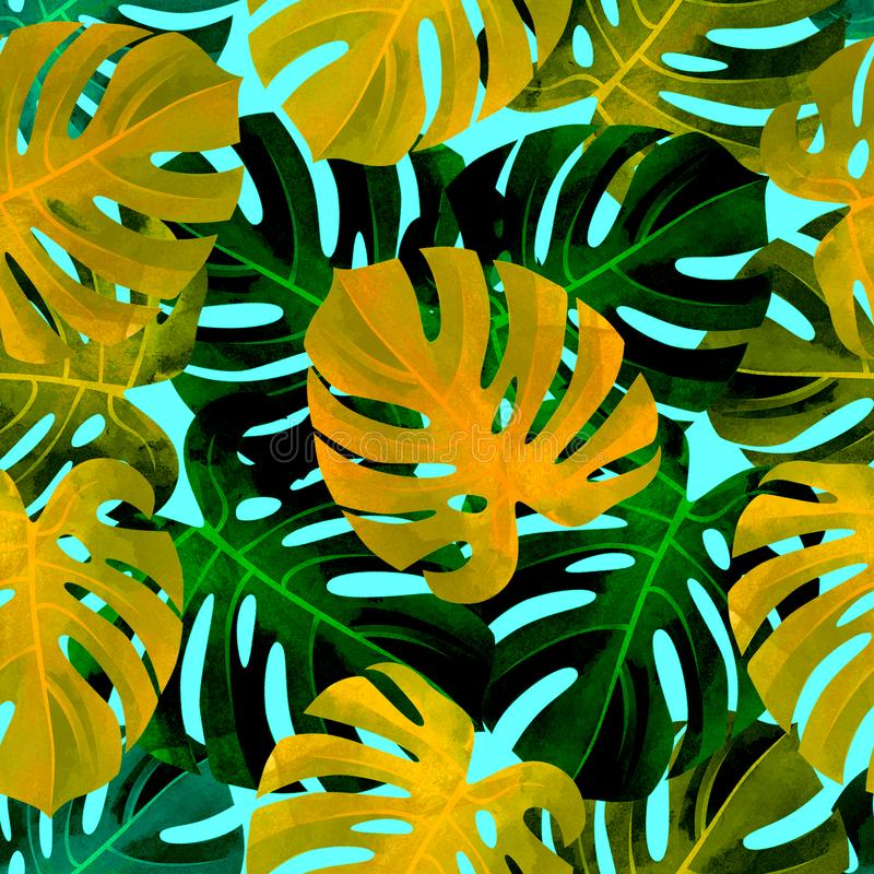 Tropical seamless pattern with colorfull monstera leaves. Fashionable background. stock photos