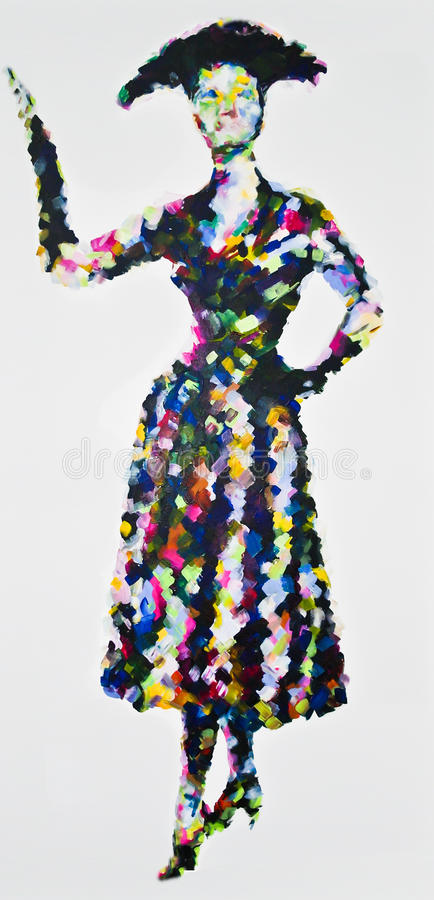 50s Perfection, contemporary acrylic painting inspired by 1950s fashion stock illustration