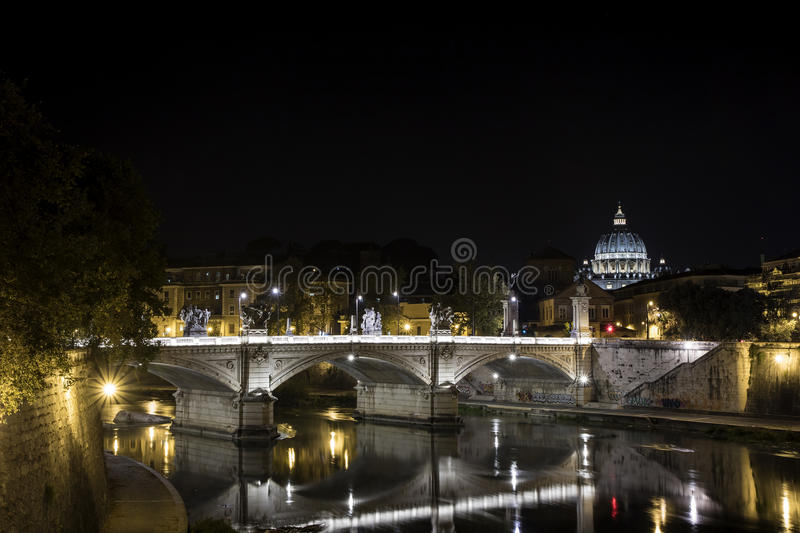 St. Peter's Dome on Tiber River, Vatican City, Rome, Italy royalty free stock photos