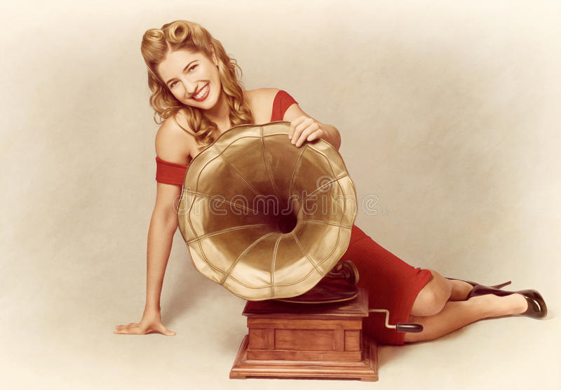 Download 60s Pin Up Girl With Vintage Record Phonograph Stock Photo - Image of advertising, media: 41045494