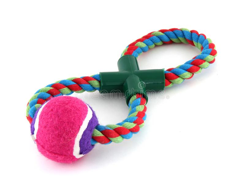 It's a pink tennis ball on a rope. It's for playing with a dog and dragging stock photography