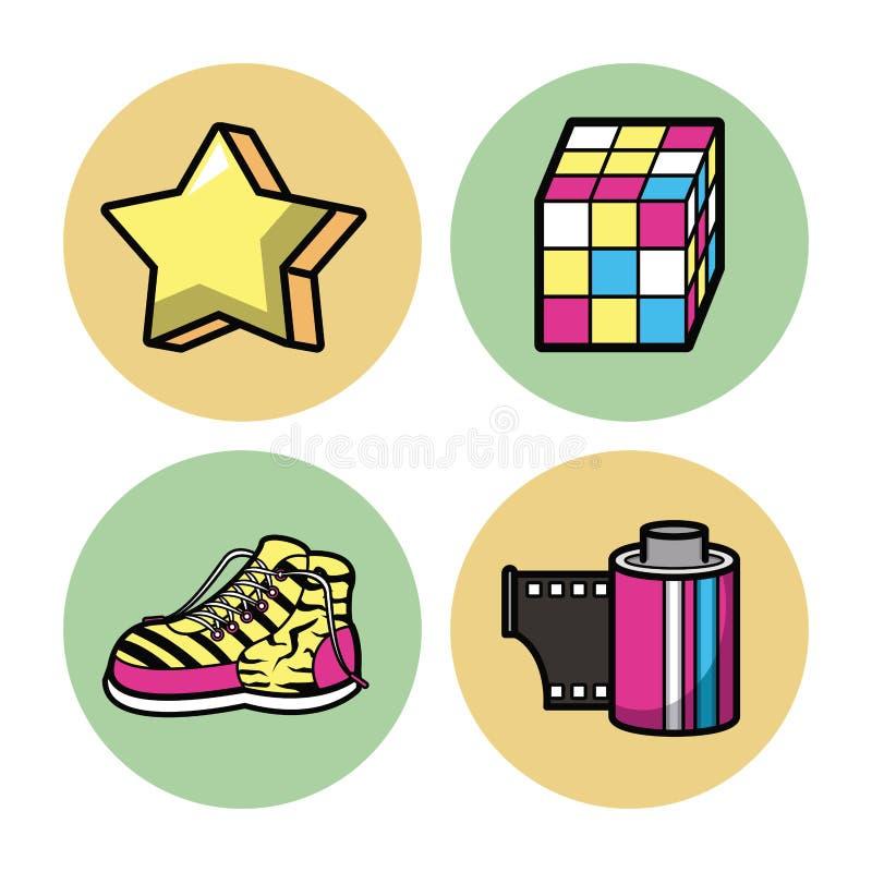 90s pop art icons vector illustration