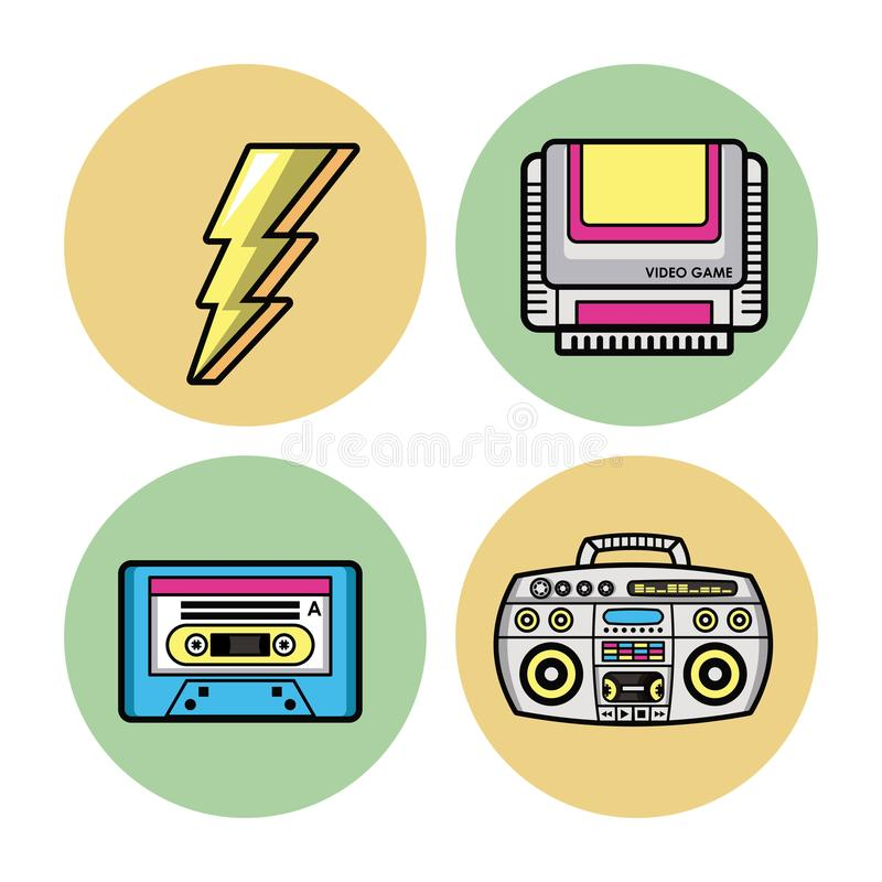 90s forever rounds icons stock vector  Illustration of print