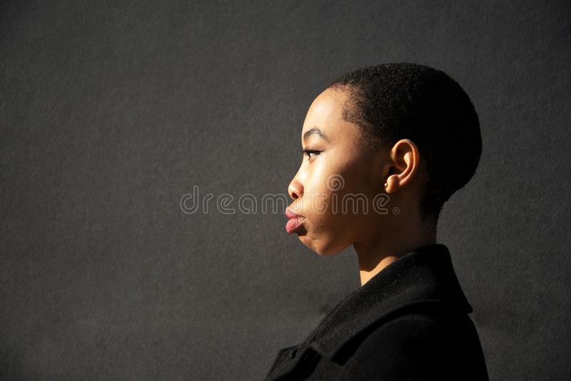20s profile portrait of young stylish skin head African woman in natural light ob grey background stock photography