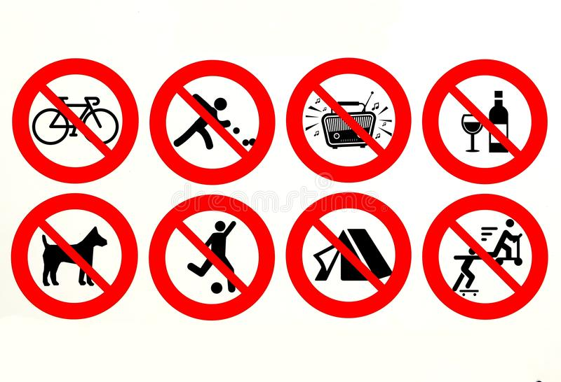 It`s prohibited cycling, playing bowls, loud music, glass materials, soccer, playing, camping, skating and no dogs allowed. stock illustration