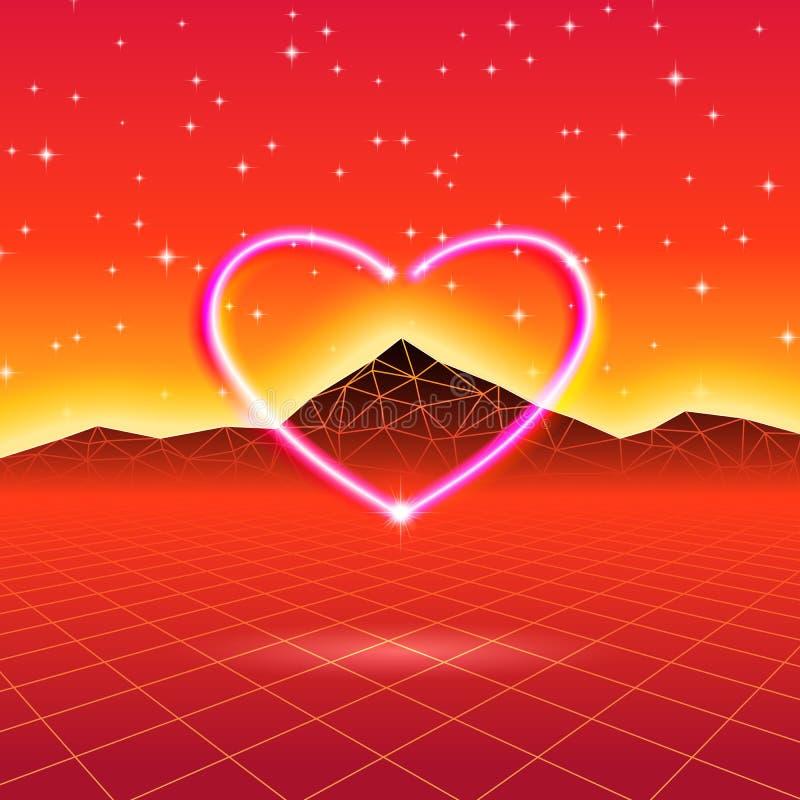 80s projektował retro futurystyczną kartę z neonowym sercem w komputerowym świacie royalty ilustracja
