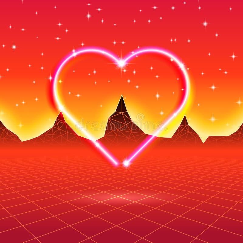 80s projektował retro futurystyczną kartę z neonowym sercem w komputerowym wor ilustracji