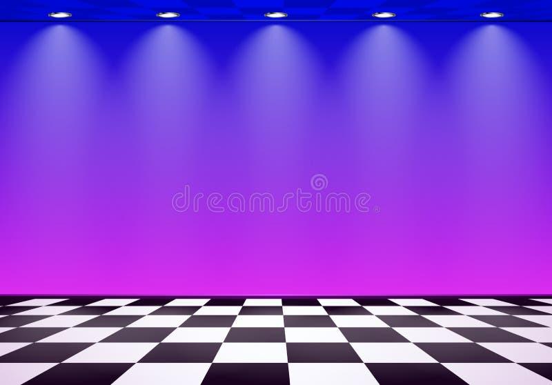 80s projektujący opary fala pokój z błękita i purpur ścianą nad sprawdzać podłoga royalty ilustracja