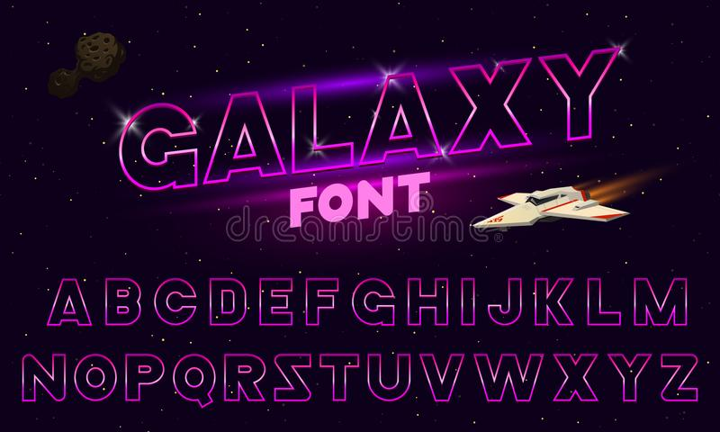80 s purple neon retro font. Futuristic chrome letters. Bright Alphabet on dark background. Light Symbols Sign for night royalty free illustration