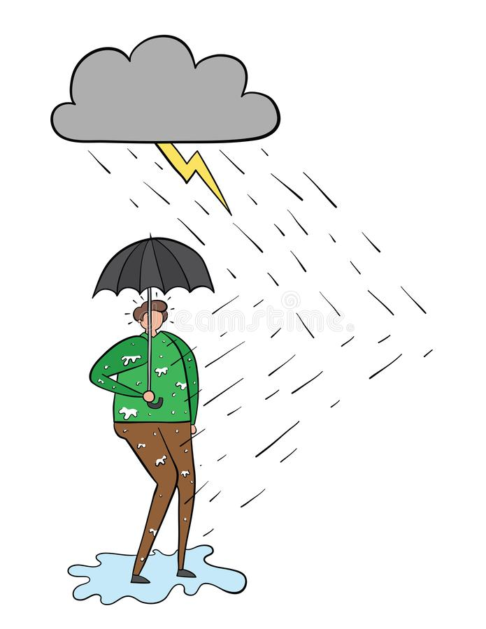 It`s raining and the man gets wet even though he opens an umbrella stock illustration
