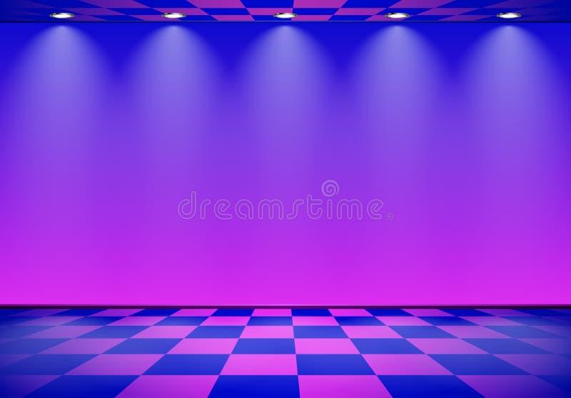 80s redete Dampfwellenraum mit blauer und purpurroter Wand über überprüftem Boden an lizenzfreie abbildung