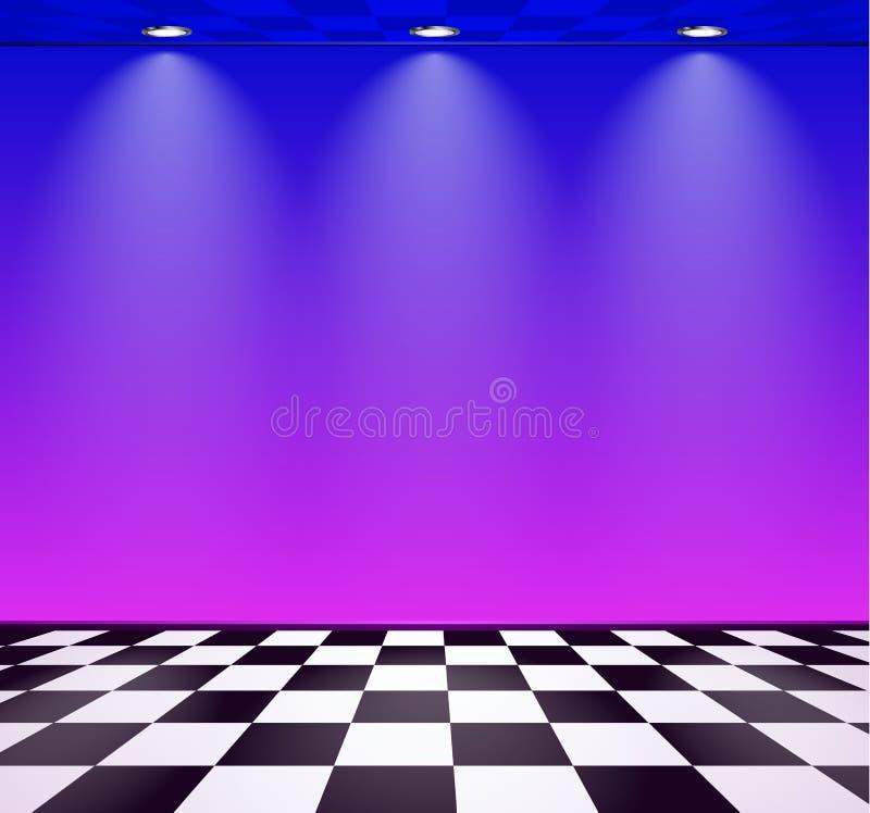 80s redete Dampfwellenraum mit blauer und purpurroter Wand ?ber ?berpr?ftem Boden an lizenzfreie abbildung